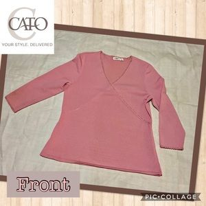 Woman's Pink Wrap Blouse with Gold Trim, size L